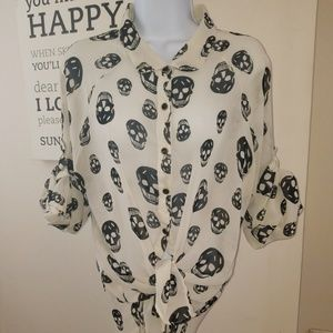 Sheer Shirt with Skulls Goth Look Black/White szXL